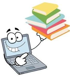 cartoon laptop holding books
