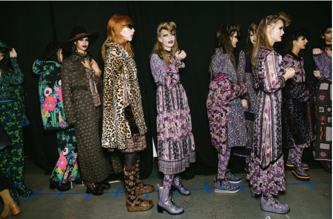 Backstage at Anna Sui's fall 2020 show Photographed by Corey Tenold