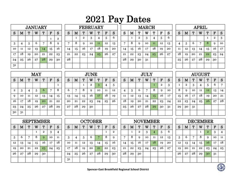 2021 Pay Dates Calendar
