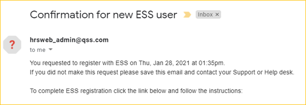 Confirmation for new ESS user