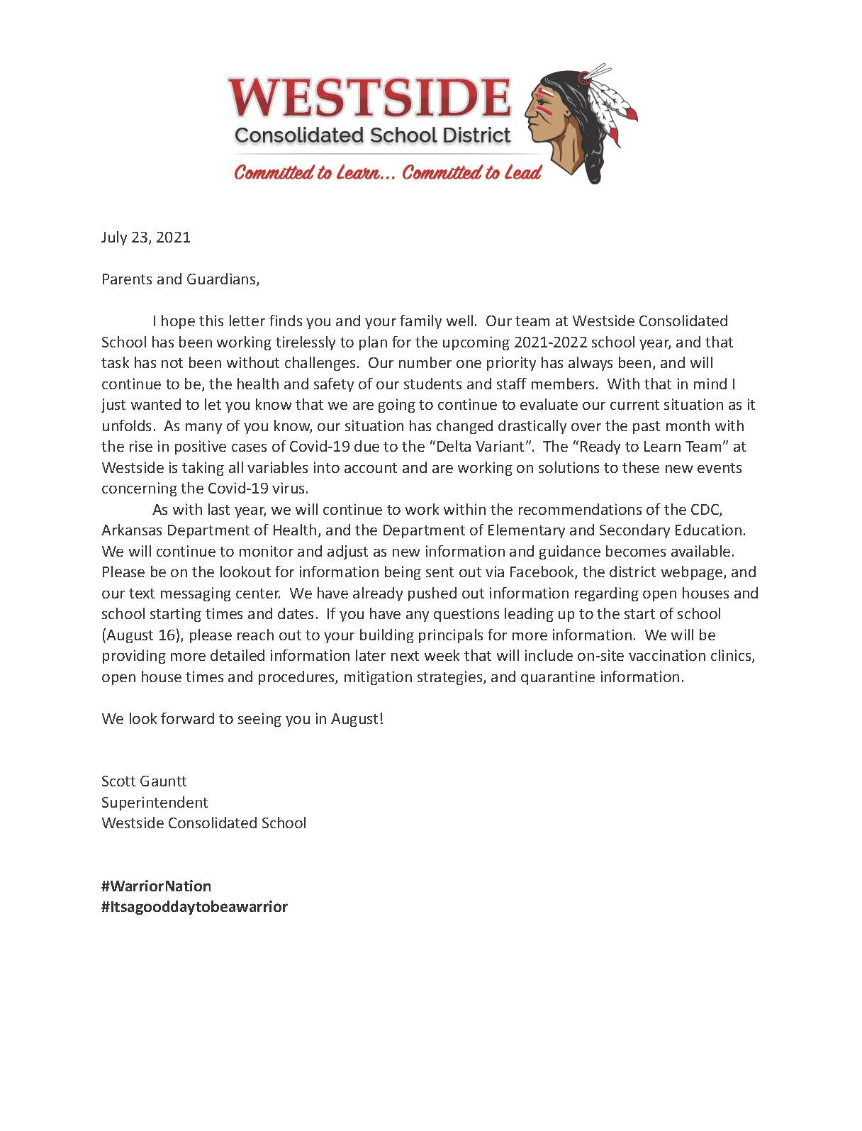 Welcome Back Covid Letter 21-22