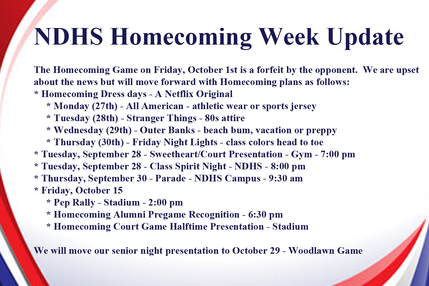 NDHS Homecoming Week Update