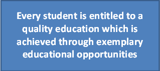Every student is entitled to a quality education which is achieved through exemplary educational opportunities