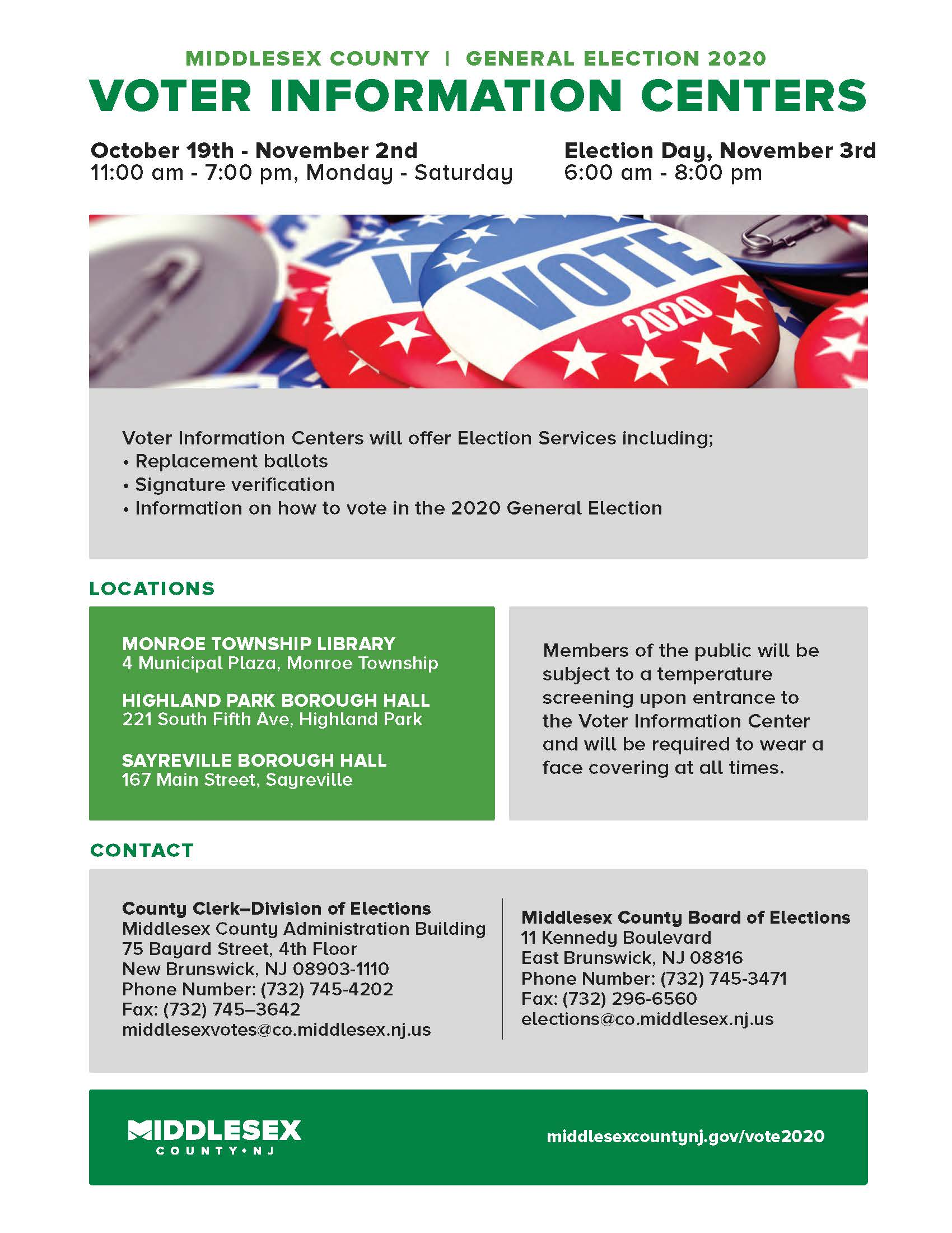 Flyer Regarding Voter Information Centers