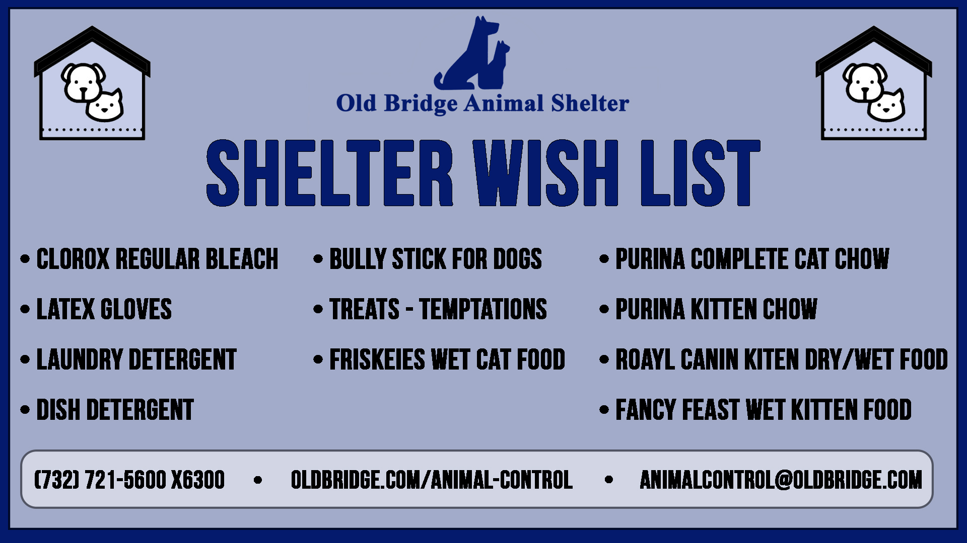 A graphic containing the wish list information for the animal shelter