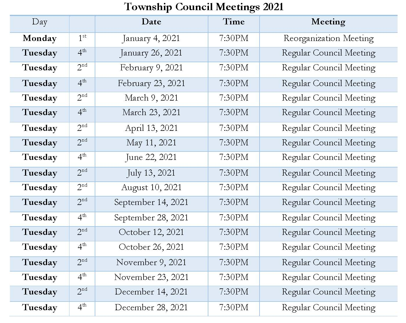 2021 Township Council Meeting schedule