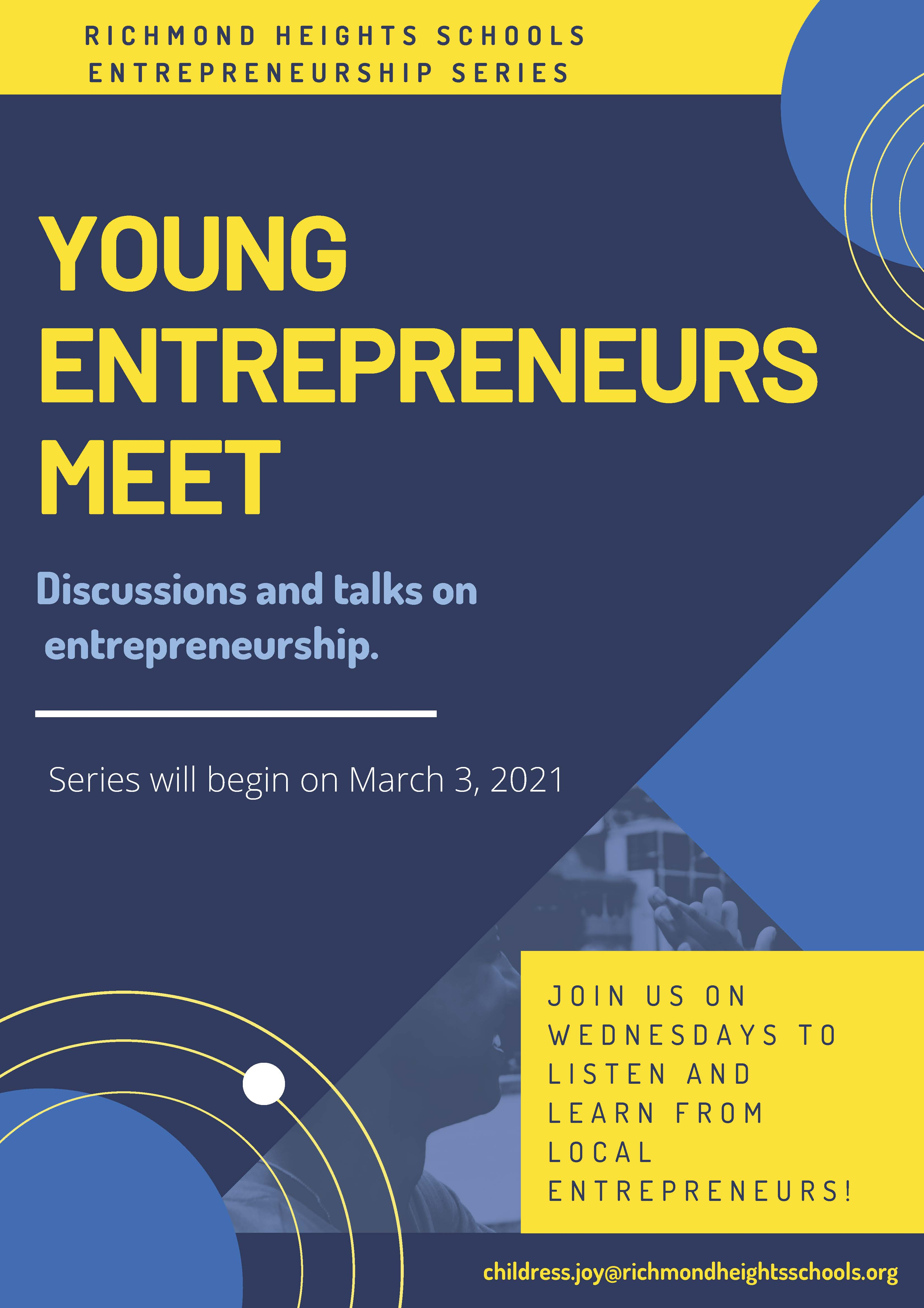 Entrepreneurs Meet poster yellow and blue poster