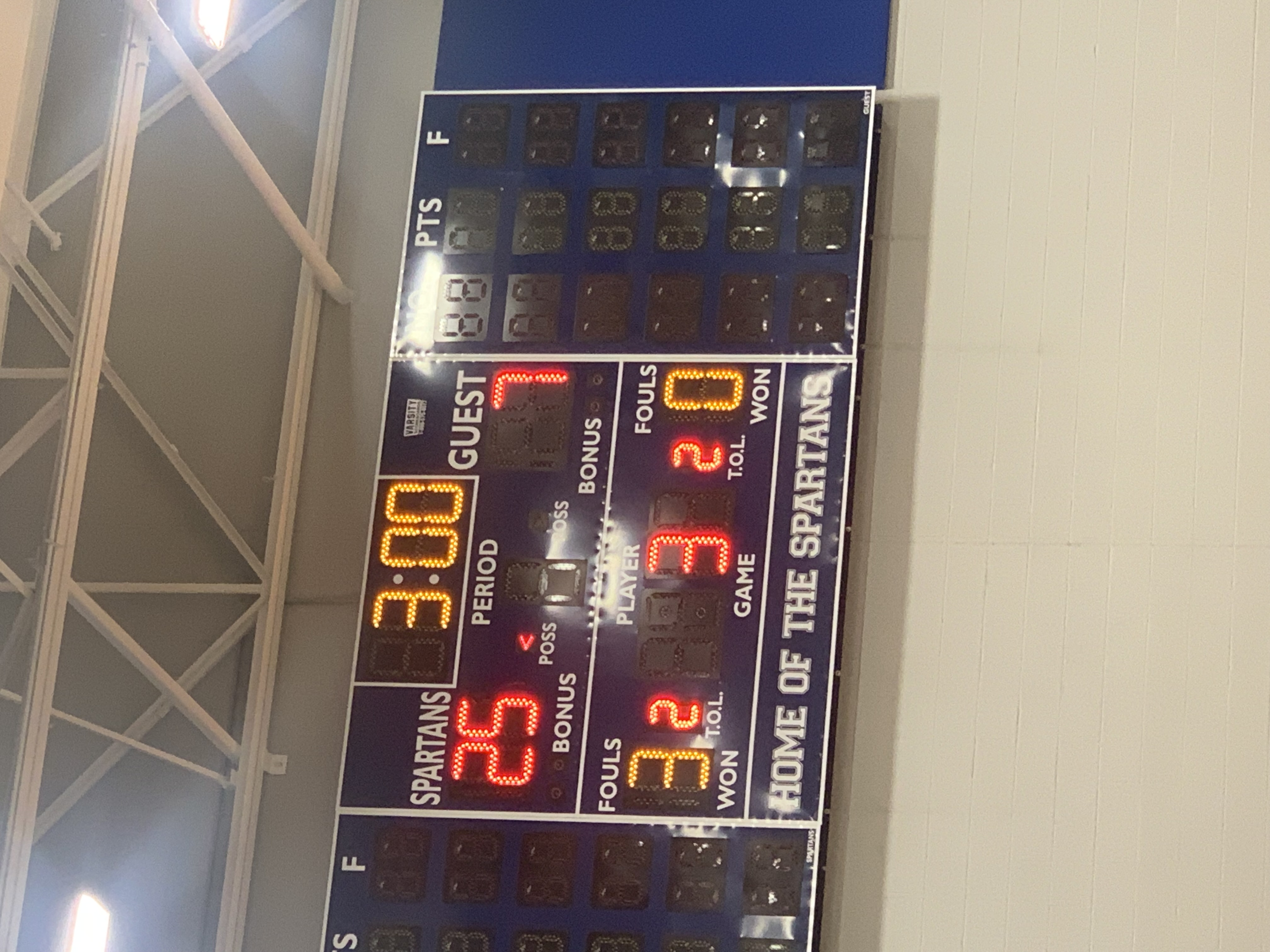 The scoreboard at the volleyball game showing we won on August 21, 2021