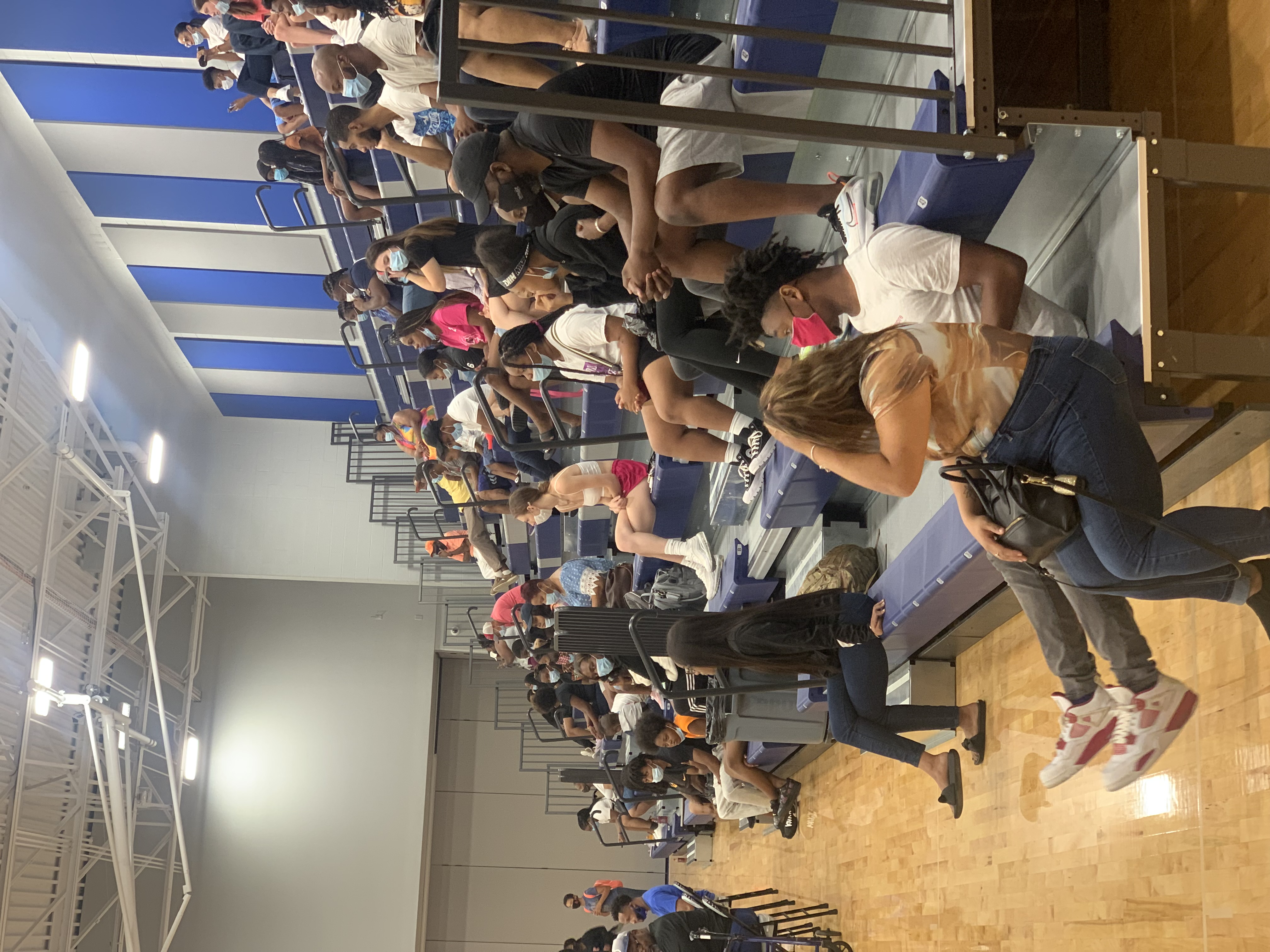 The spectators at the volleyball game in the upper school gym August 21, 2021