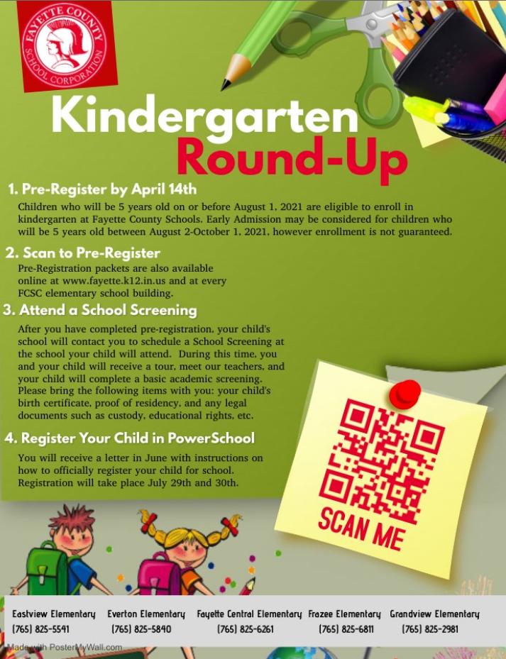 Pre-Registration for Kindergarten Enrollment Flyer