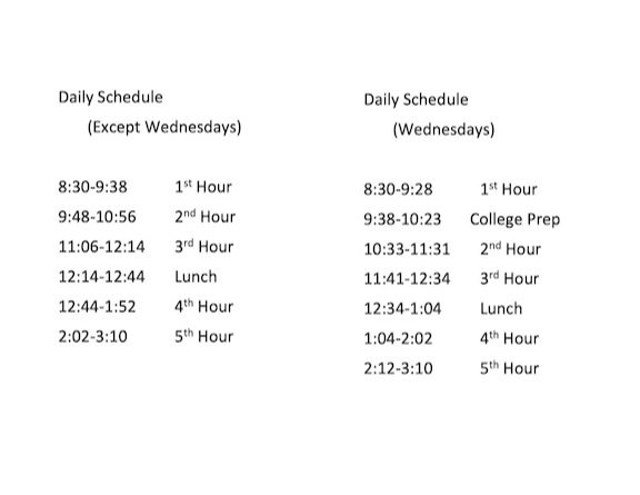 2020-2021 Daily Schedule