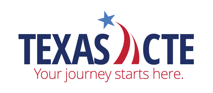 Texas CTE. Your Journey Starts Here. 60x30 Texas with TX flag banner across the bottom