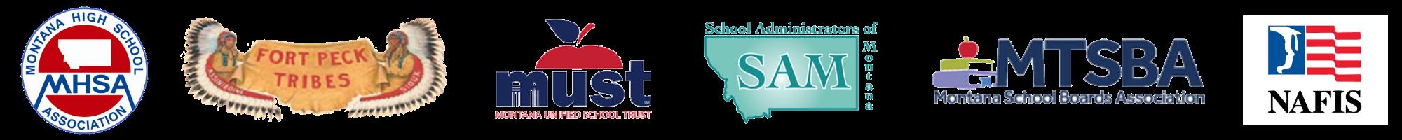 Community Partner Logos; MHSA, Fort Peck Tribes, MUST, SAM, MTSBA, NAFIS