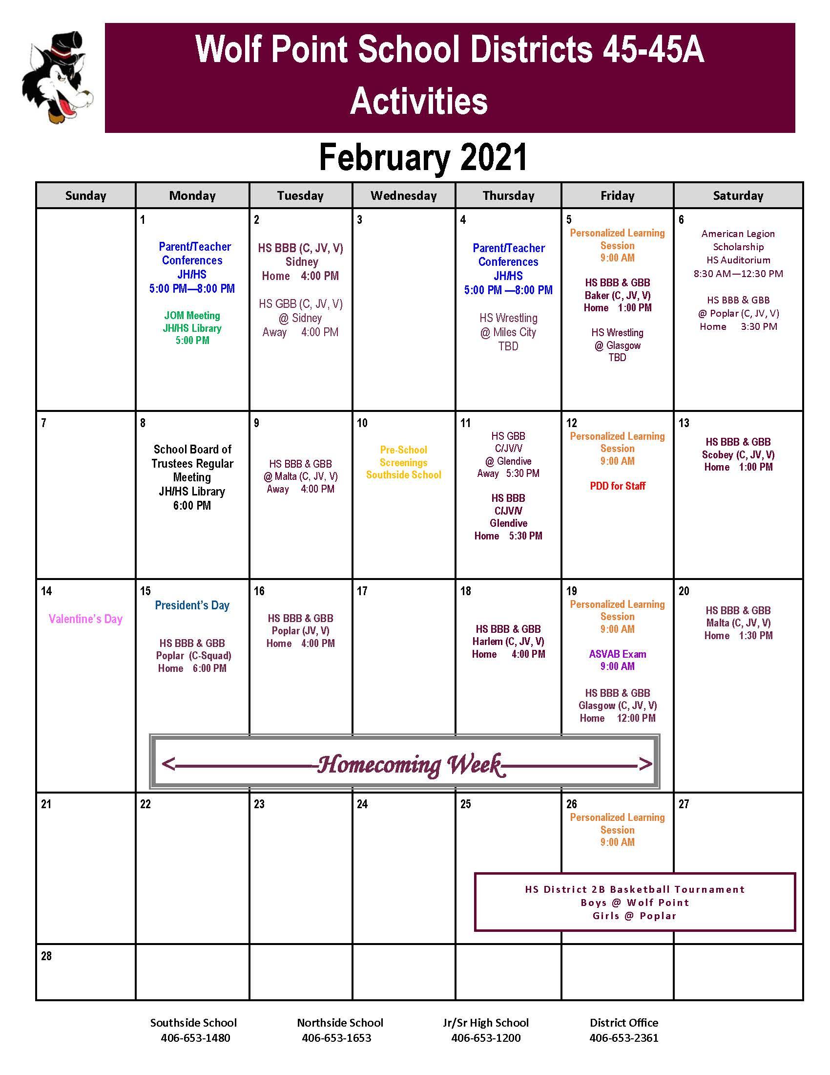 ACTIVITY CALENDAR _FEBRUARY 2021
