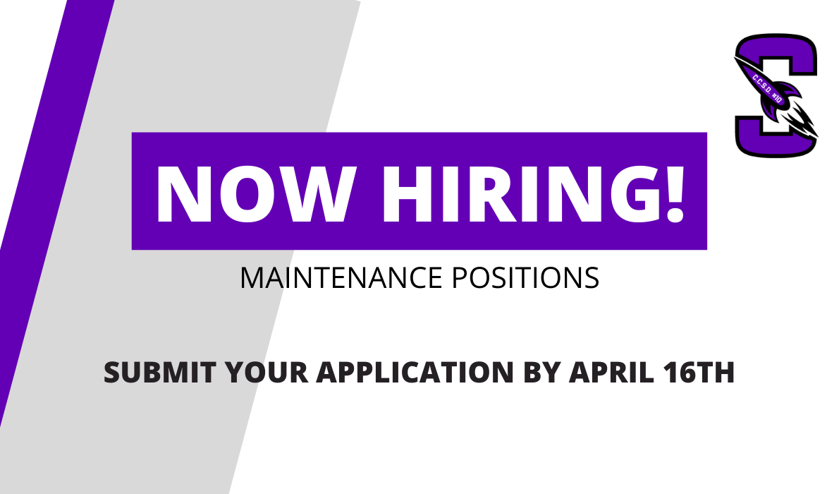 Now Hiring! maintenance Positions, Submit your applications by april 16th!