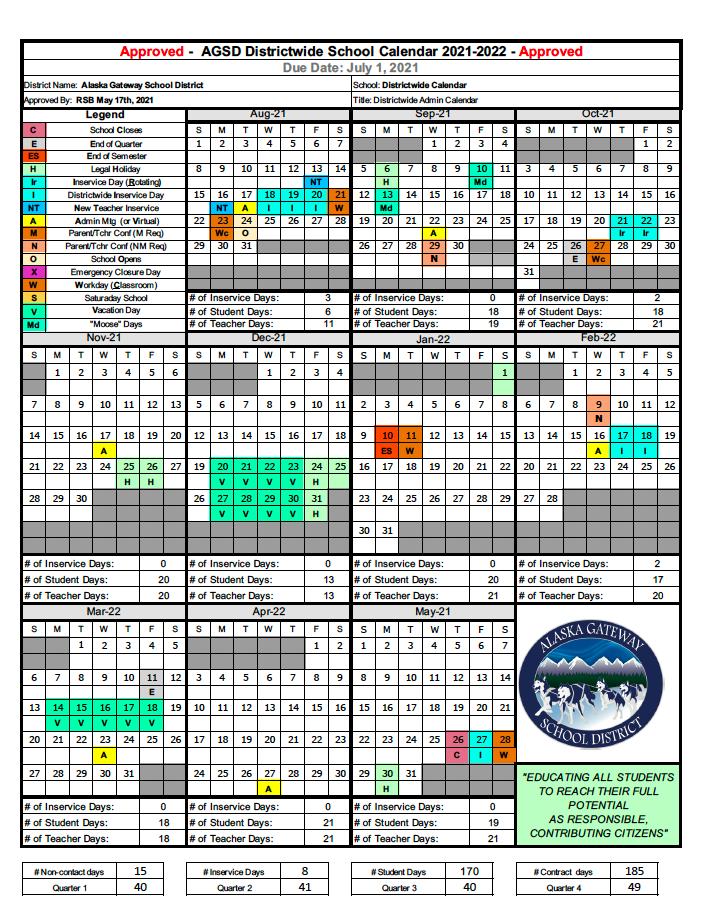 Proposed School Calendar 2020-2021