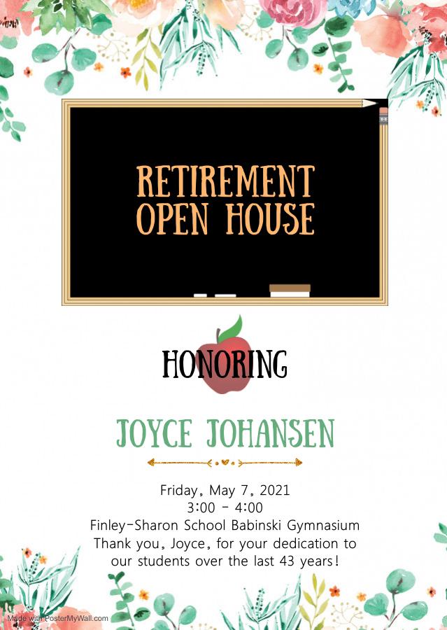 retirement party invite for Joyce Johansen