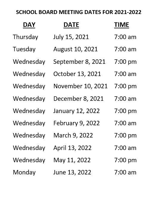 school board meeting dates 21.22