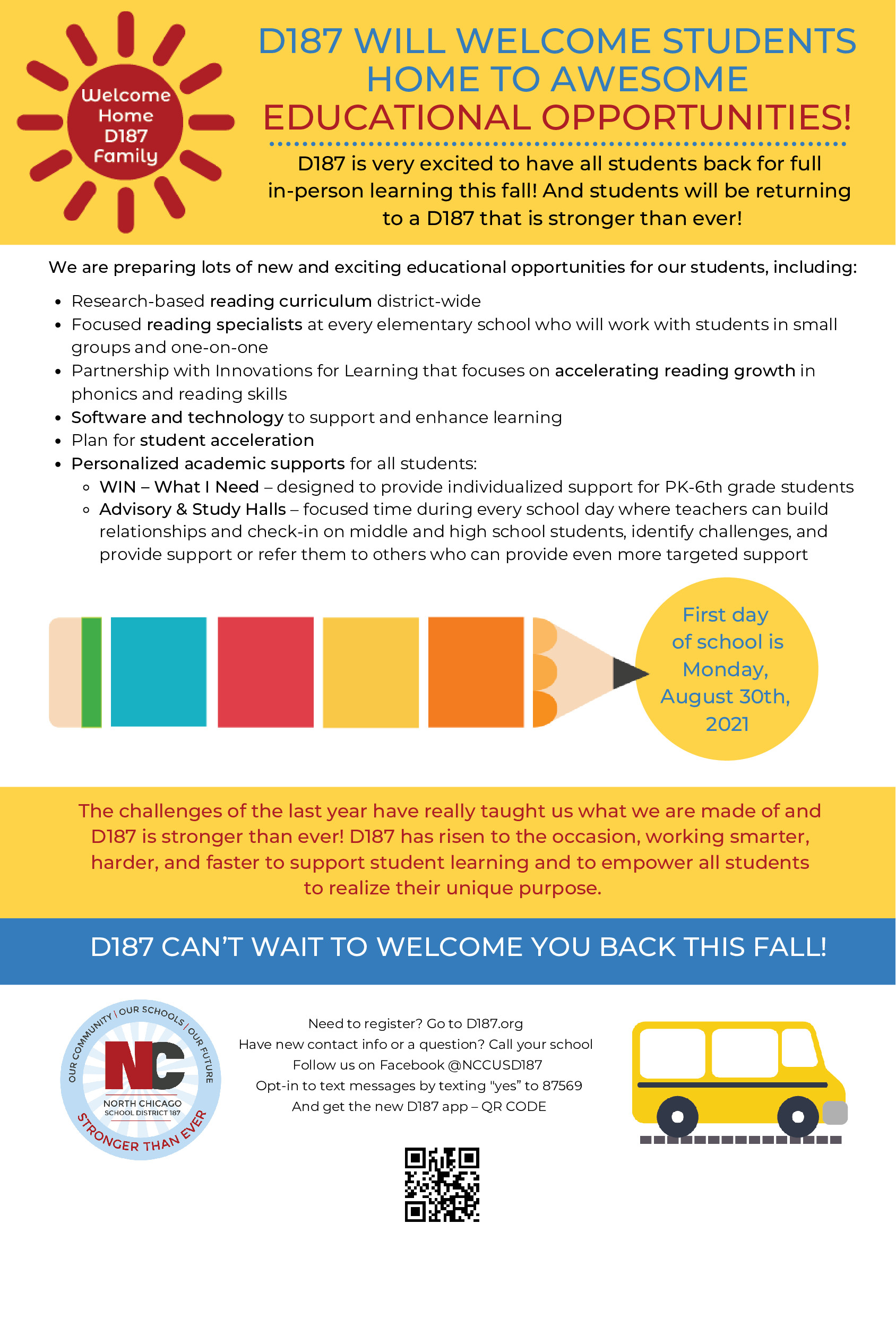 D187 WILL WELCOME STUDENTS  HOME TO AWESOME  EDUCATIONAL OPPORTUNITIES!