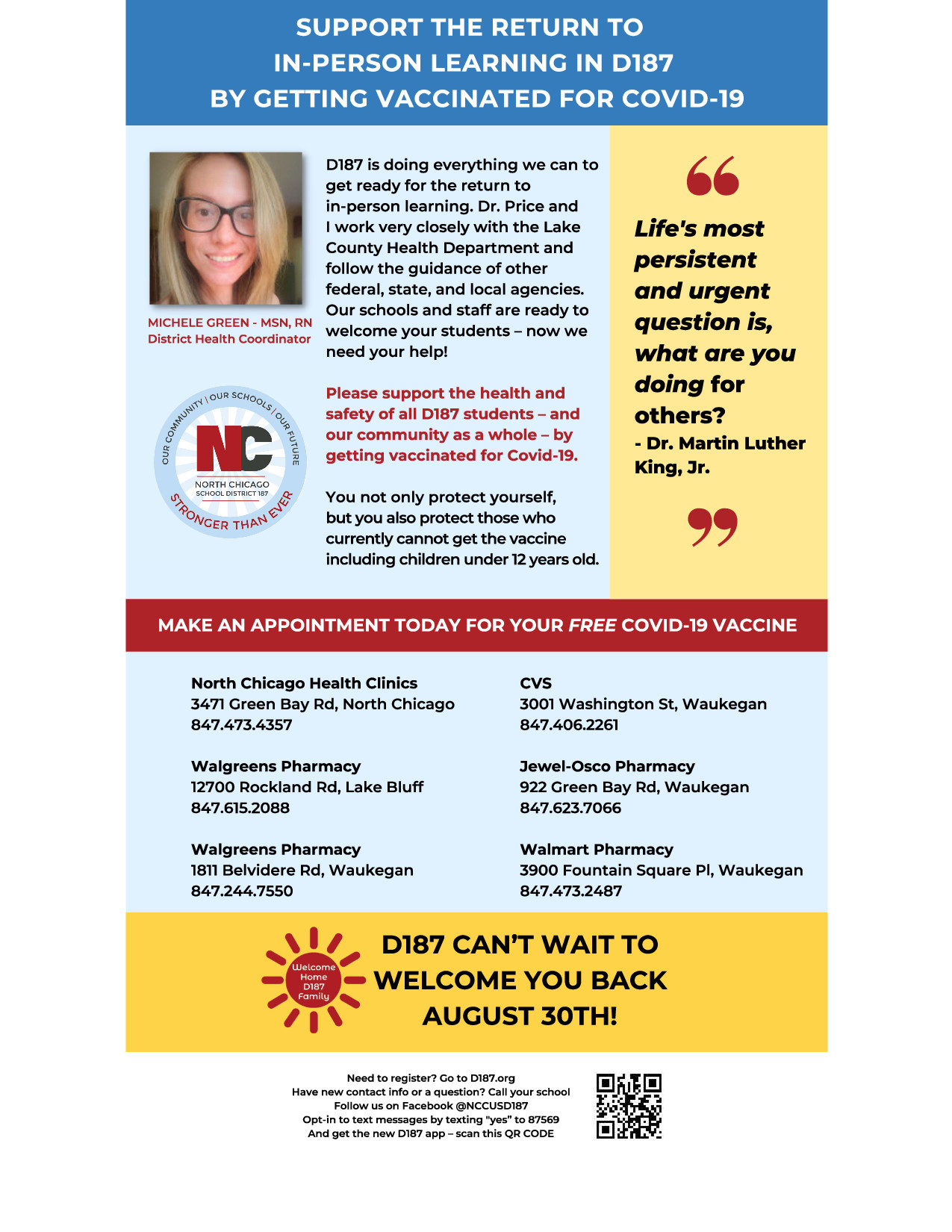 SUPPORT THE RETURN TO  IN-PERSON LEARNING IN D187 BY GETTING VACCINATED FOR COVID-19