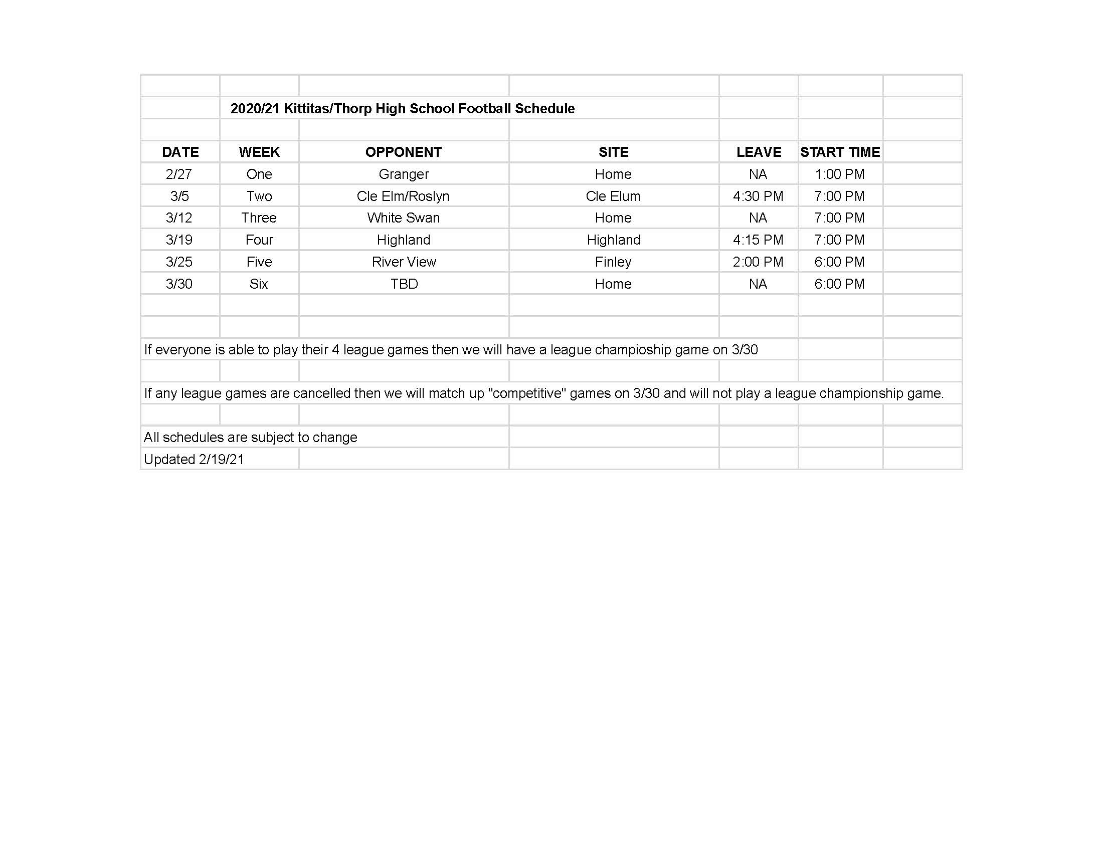 Revised HS Football Schedule