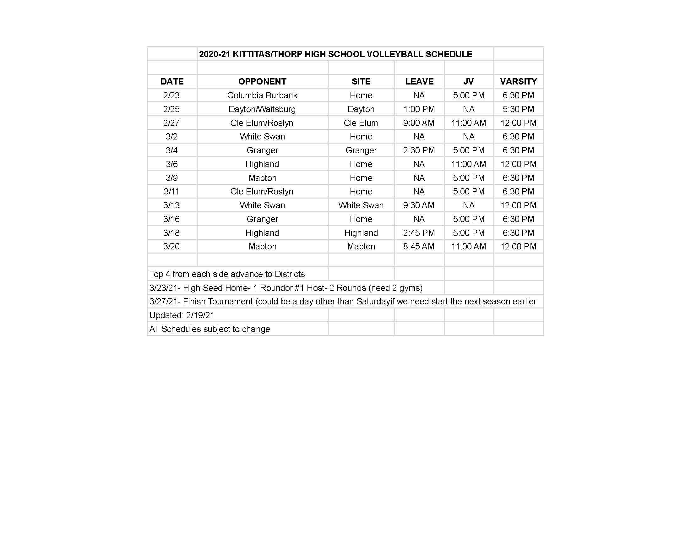 Revised HS Volleyball Schedule