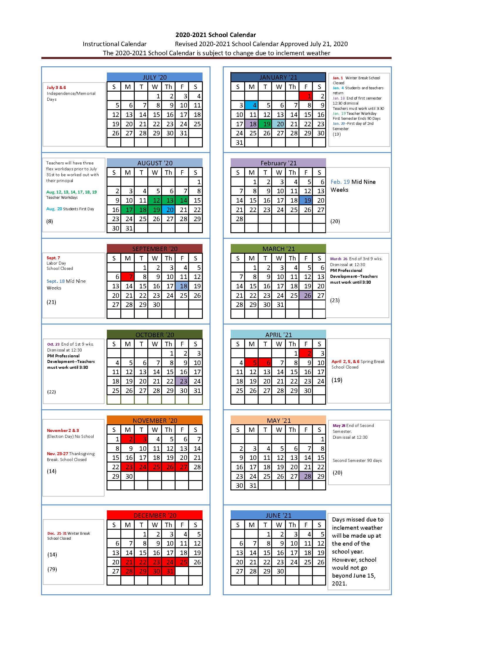2020-2021 Wise County Schools Calendar