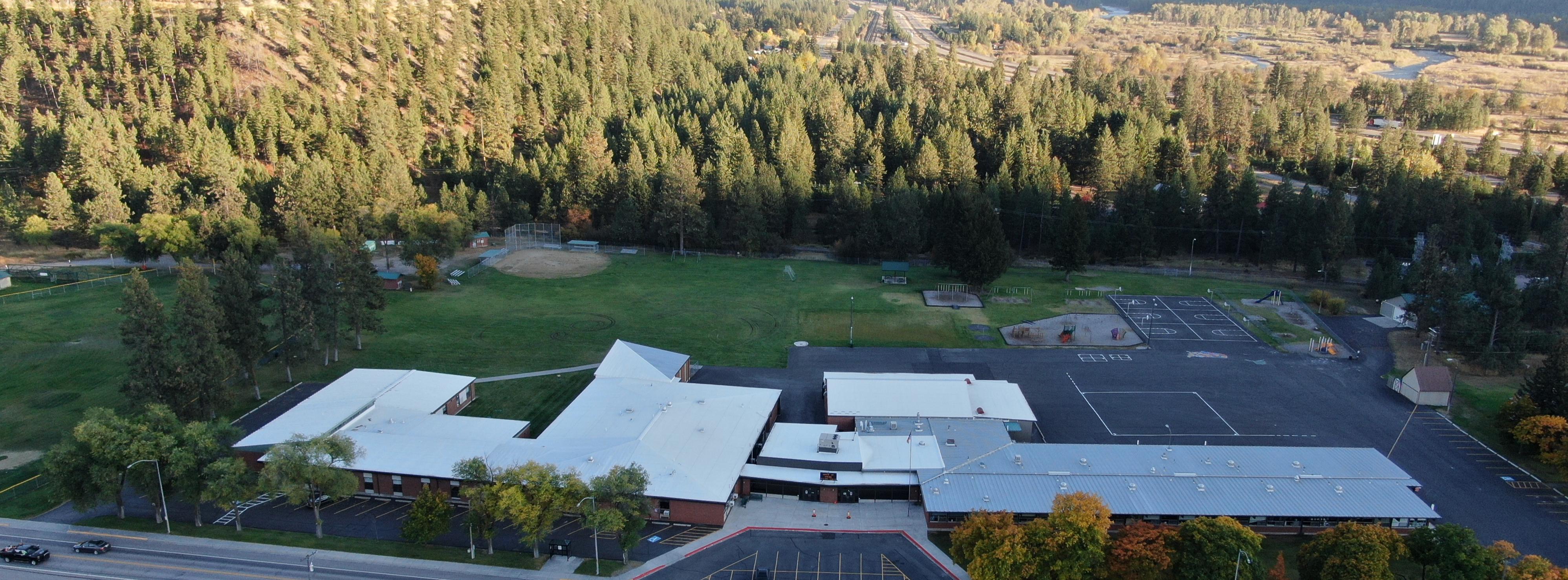 Aerial view of Bonner school building