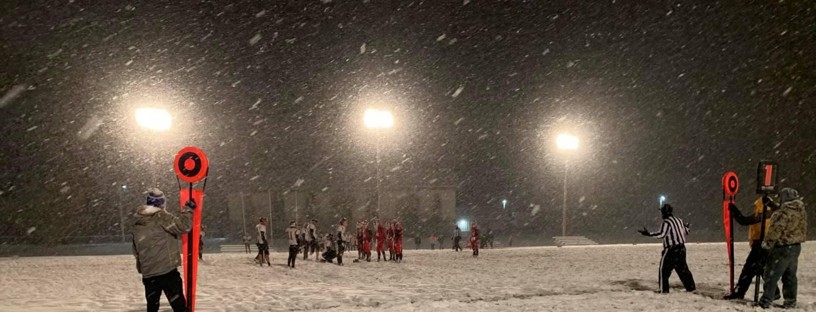 Friday night football in a snow storm
