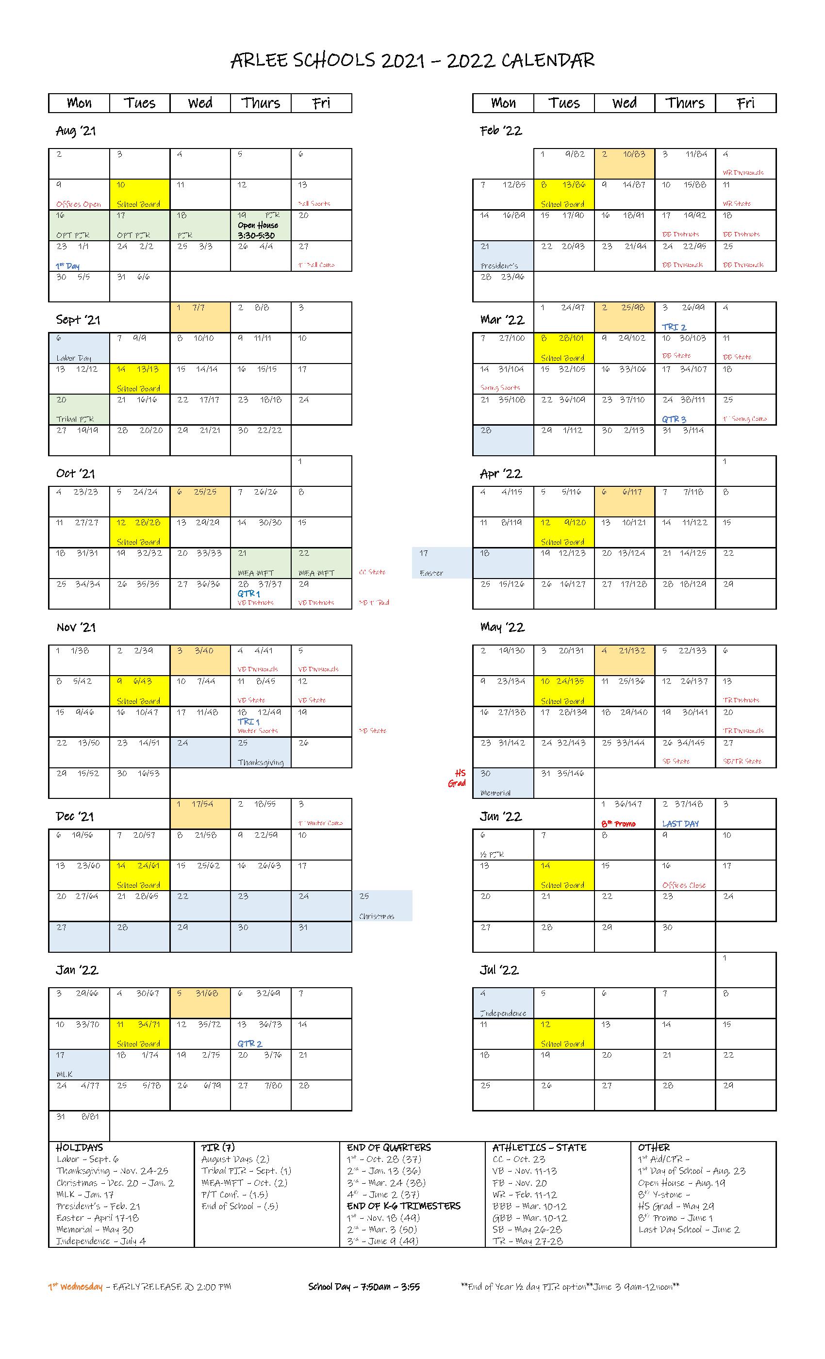 Arlee Schools 2021-2022 Calendar