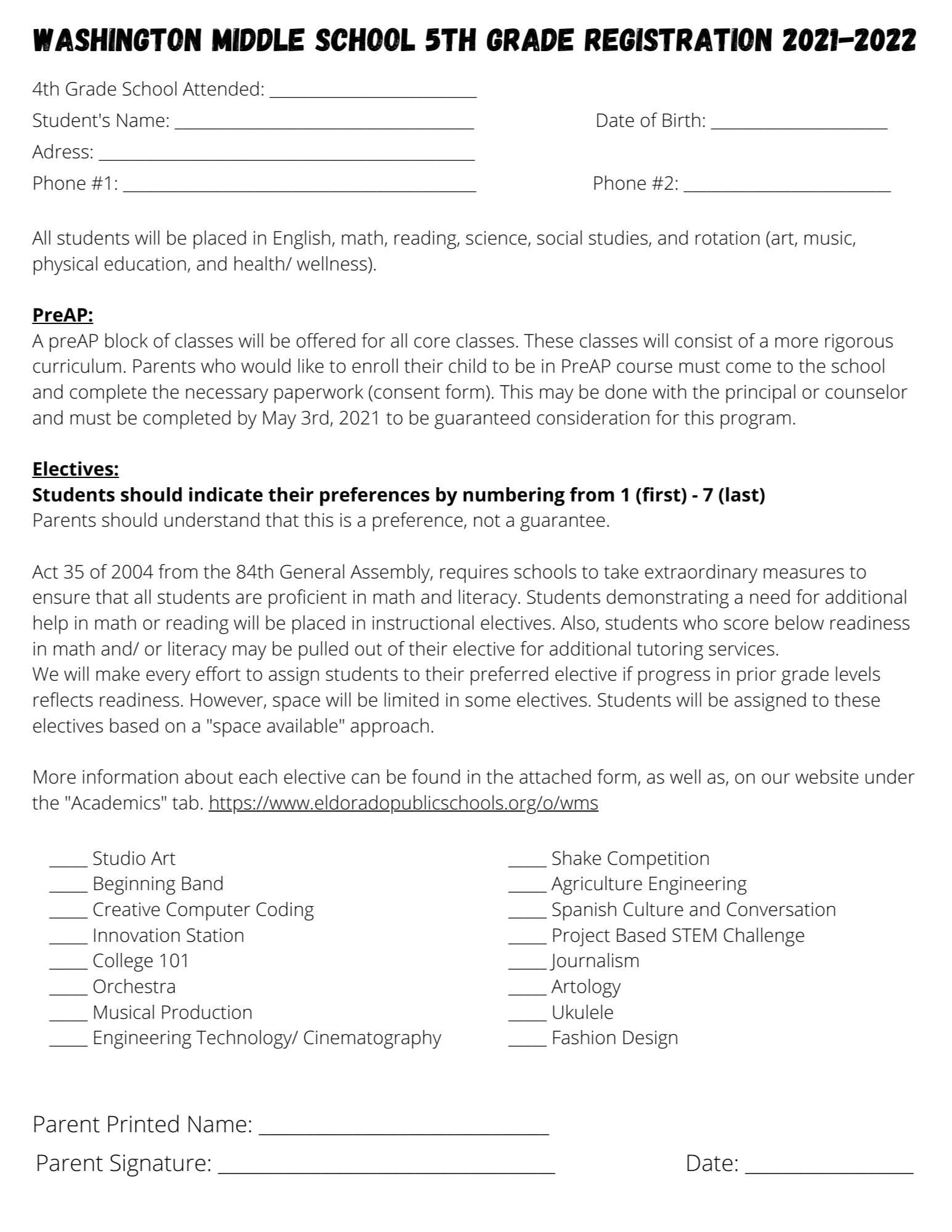 5th Grade Registration Form