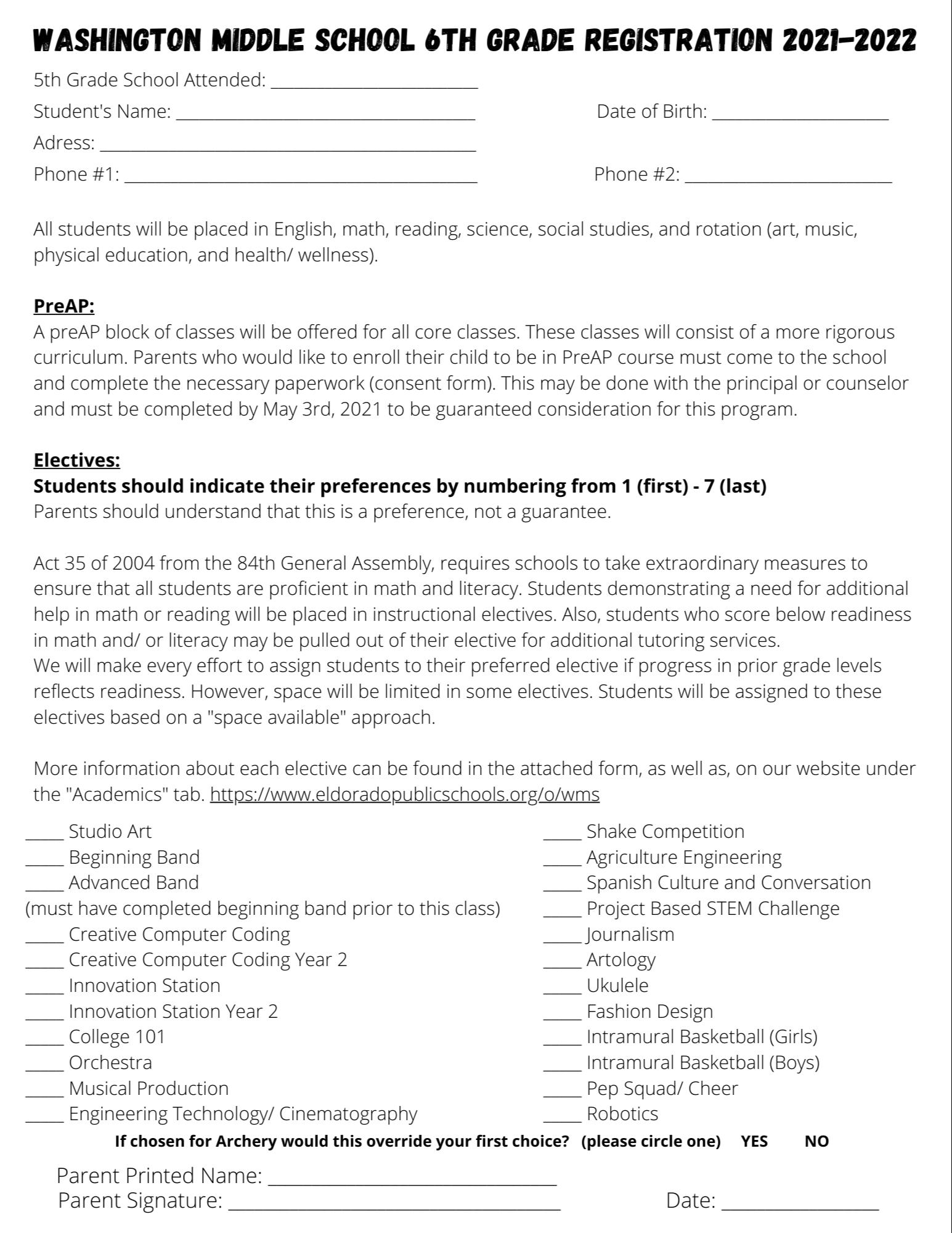 6th Grade Registration Form