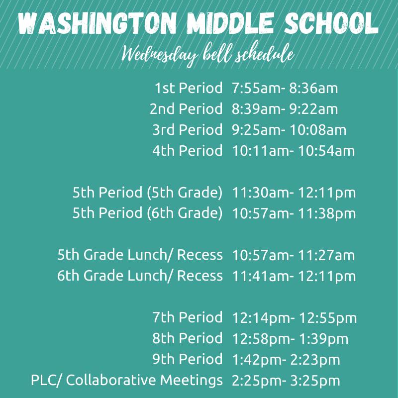 WMS Wednesday Bell Schedule