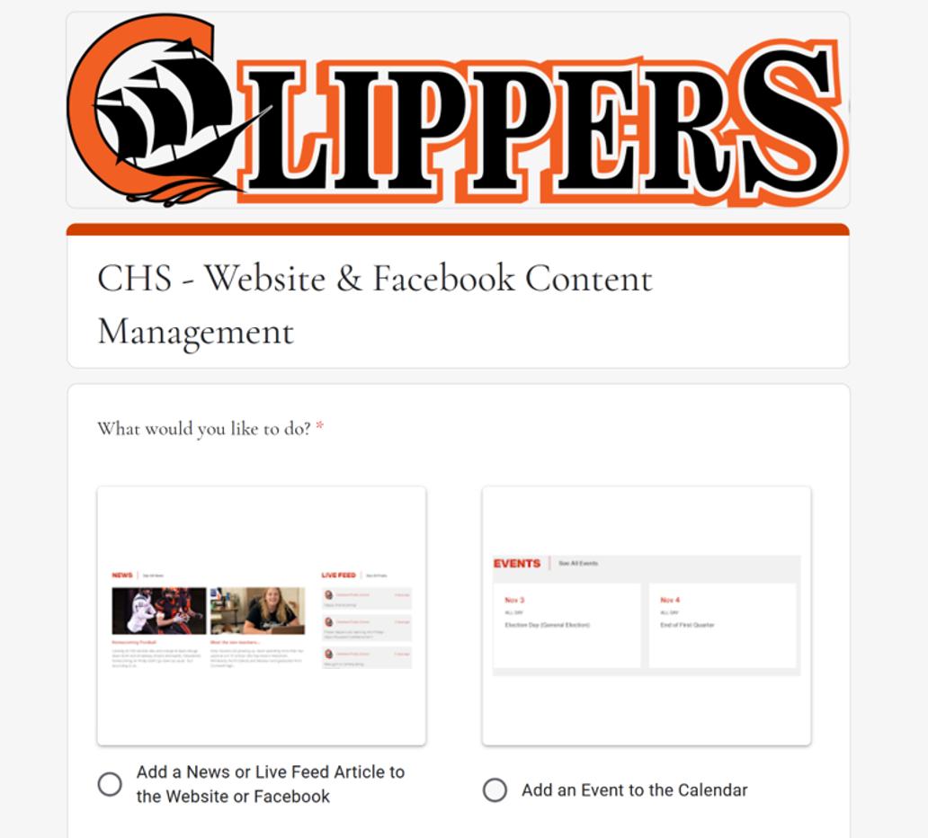 CHS - Website & Content Management Google Form Screenshot