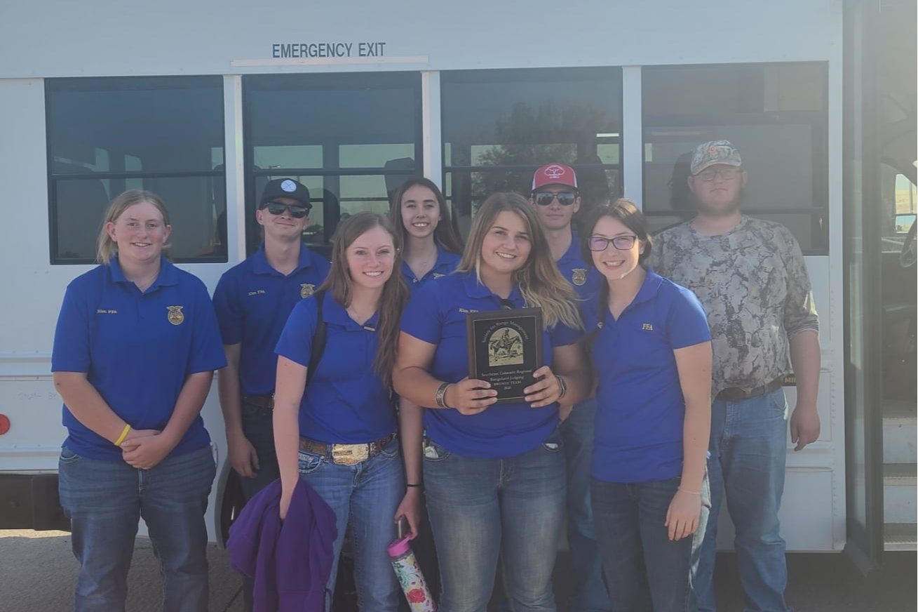 FFA Range Team with 3rd Place Plaque at Rocky Ford District Range