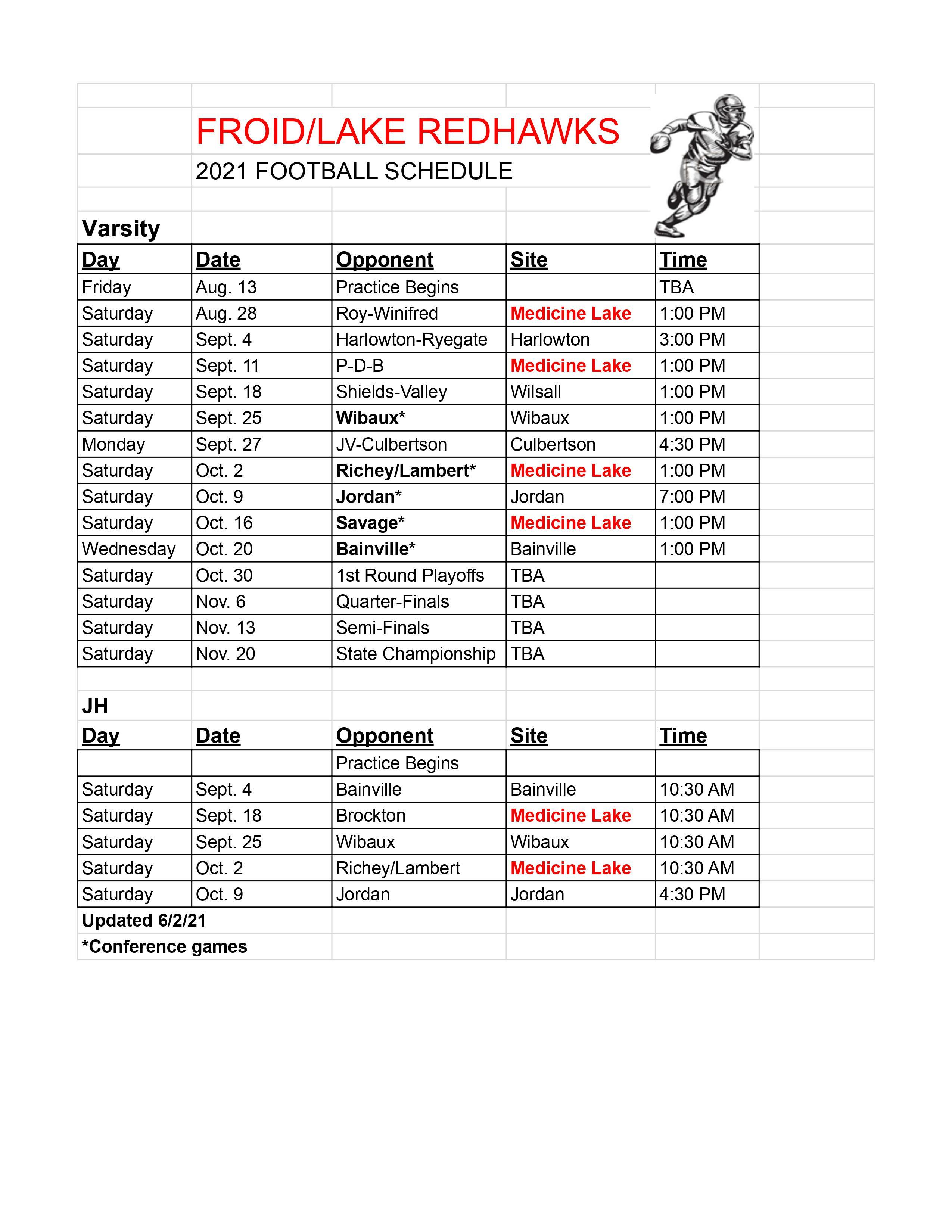2021-2022 Football Schedule