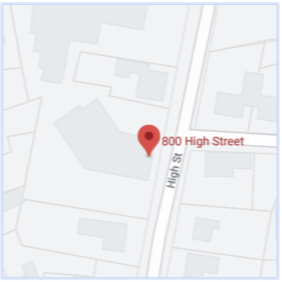 A map of 800 high street, bath, me 04530
