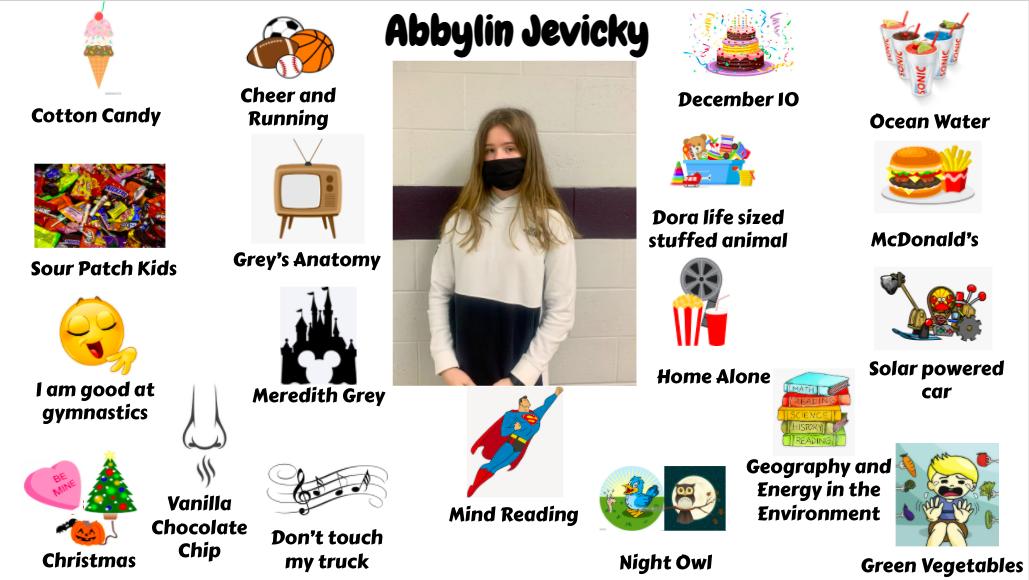 Jr. High student Abbylin Jevicky