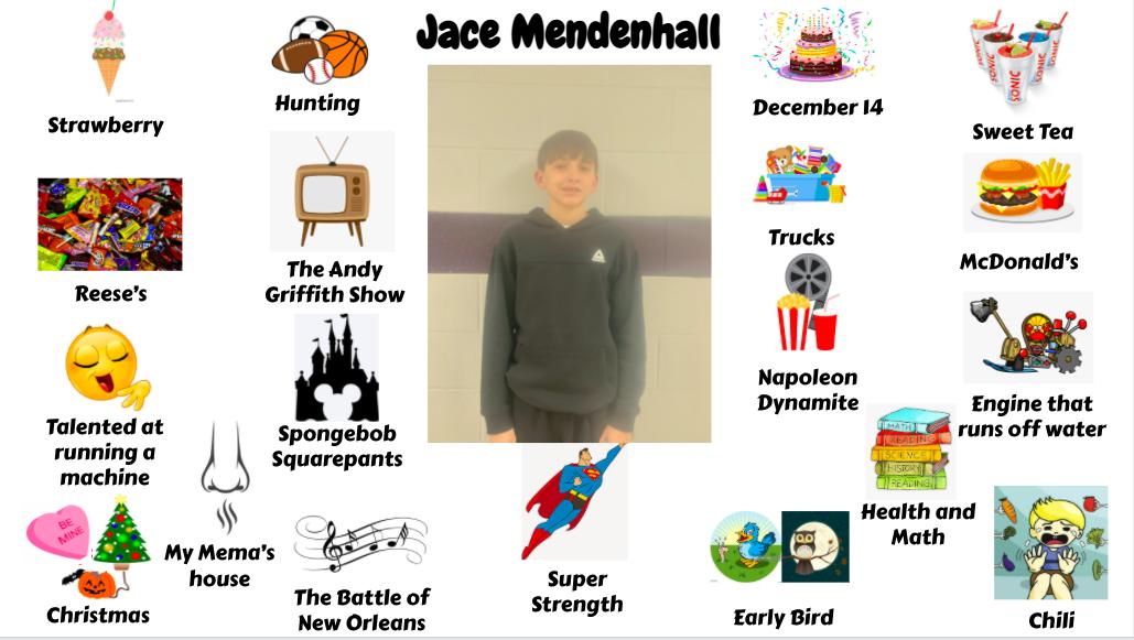 Jr. High student Jace Mendenhall