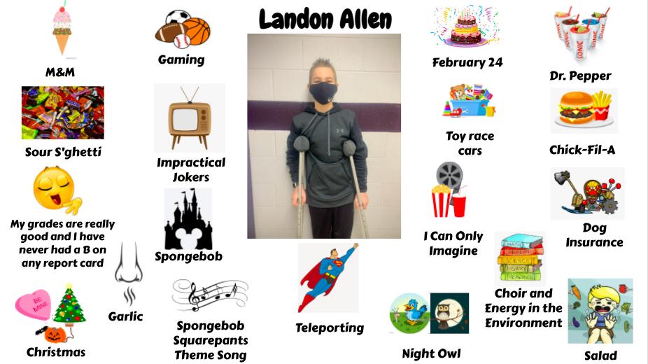 Jr. High Student Landon Allen