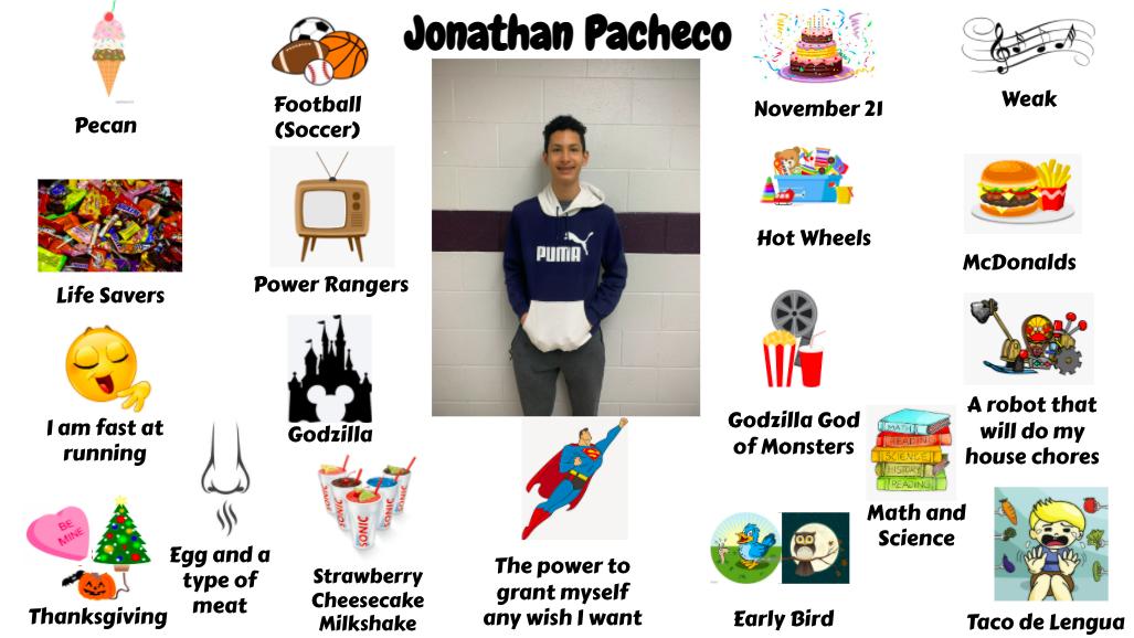 Jr. High Student Jonathan Pacheco