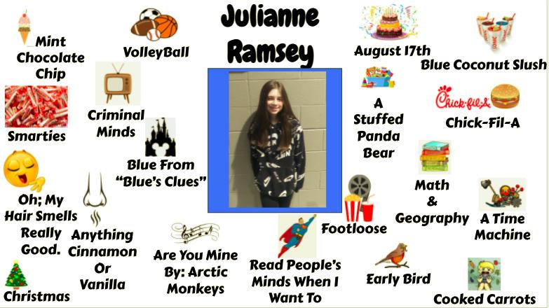 Jr. High Student Julianne Ramsey