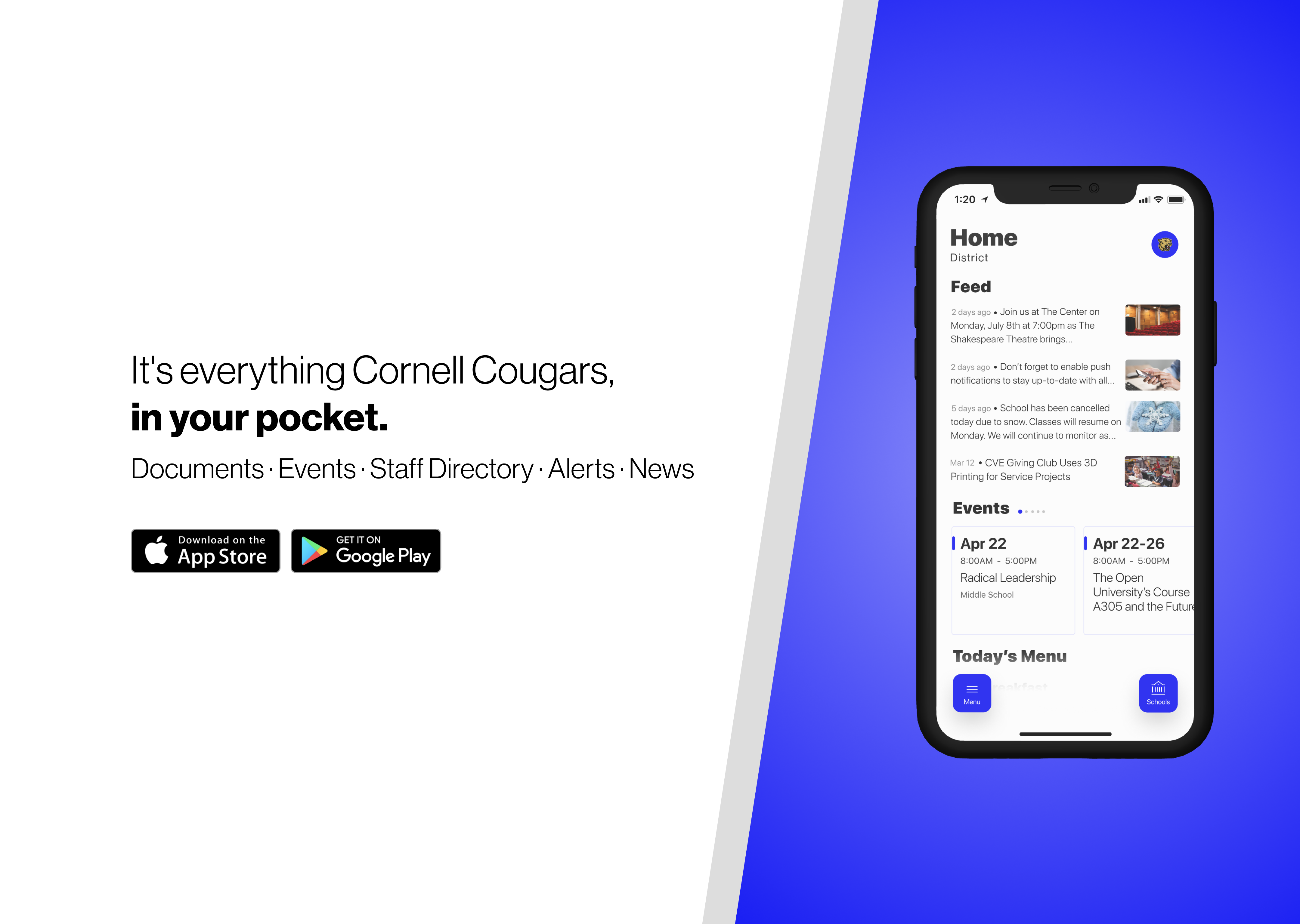 Advertisement for the Cornell Cougar app for iOS and Android