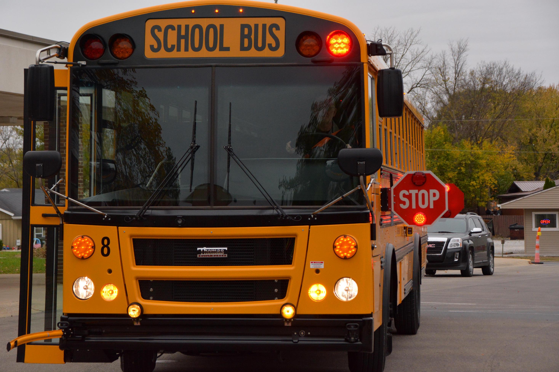 School Bus with Flashing Lights
