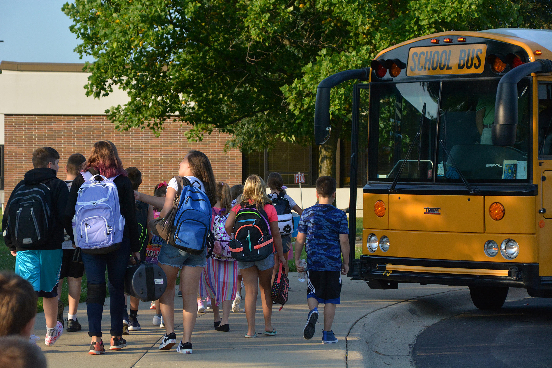 School Bus Unloading at School