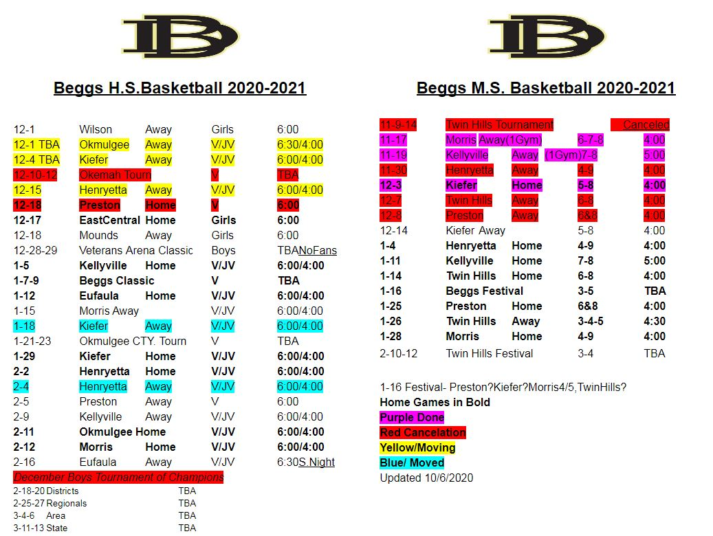 2021 Basketball Schedule