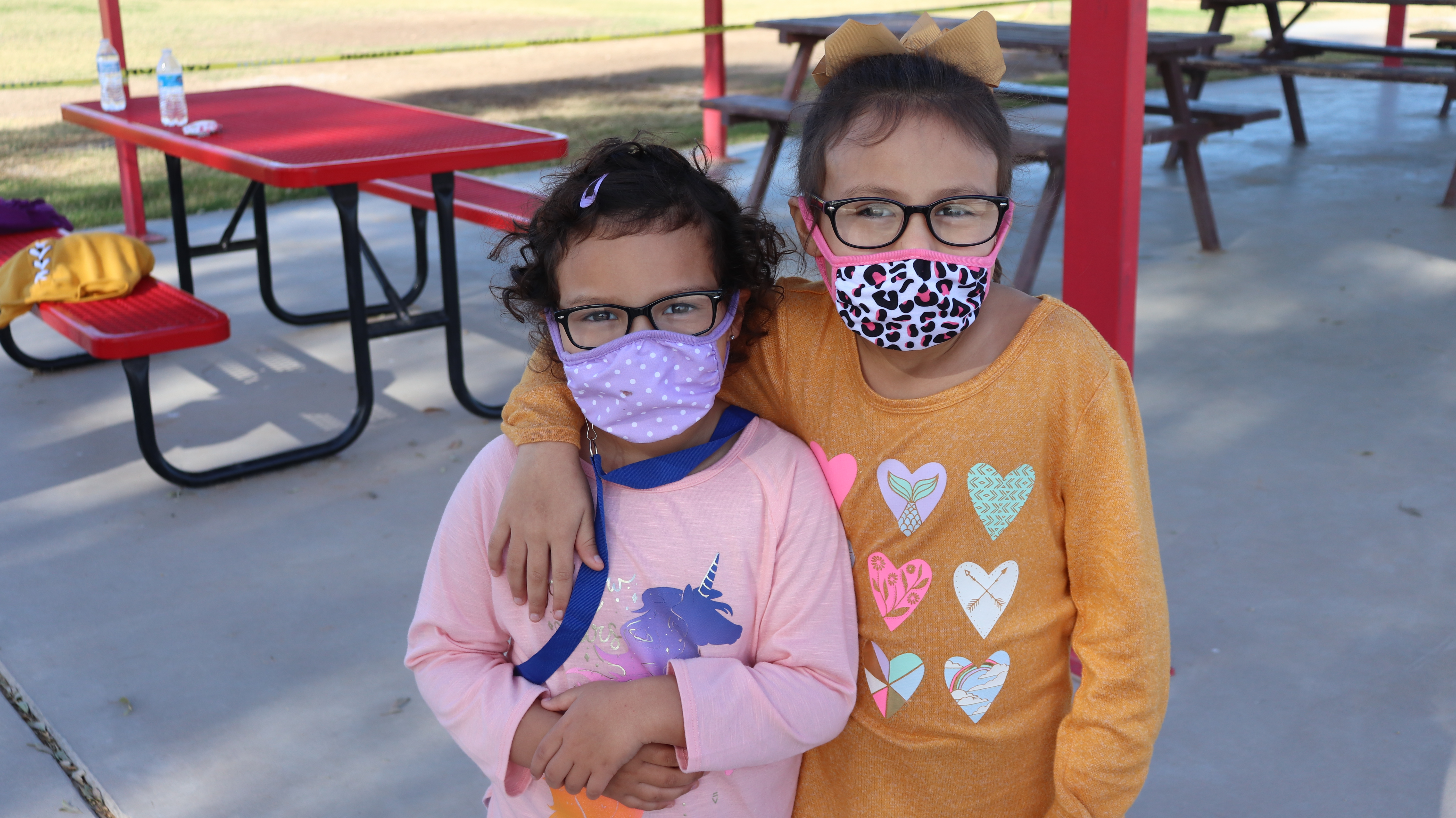 """""""Little Rebels"""" in masks on the playground."""