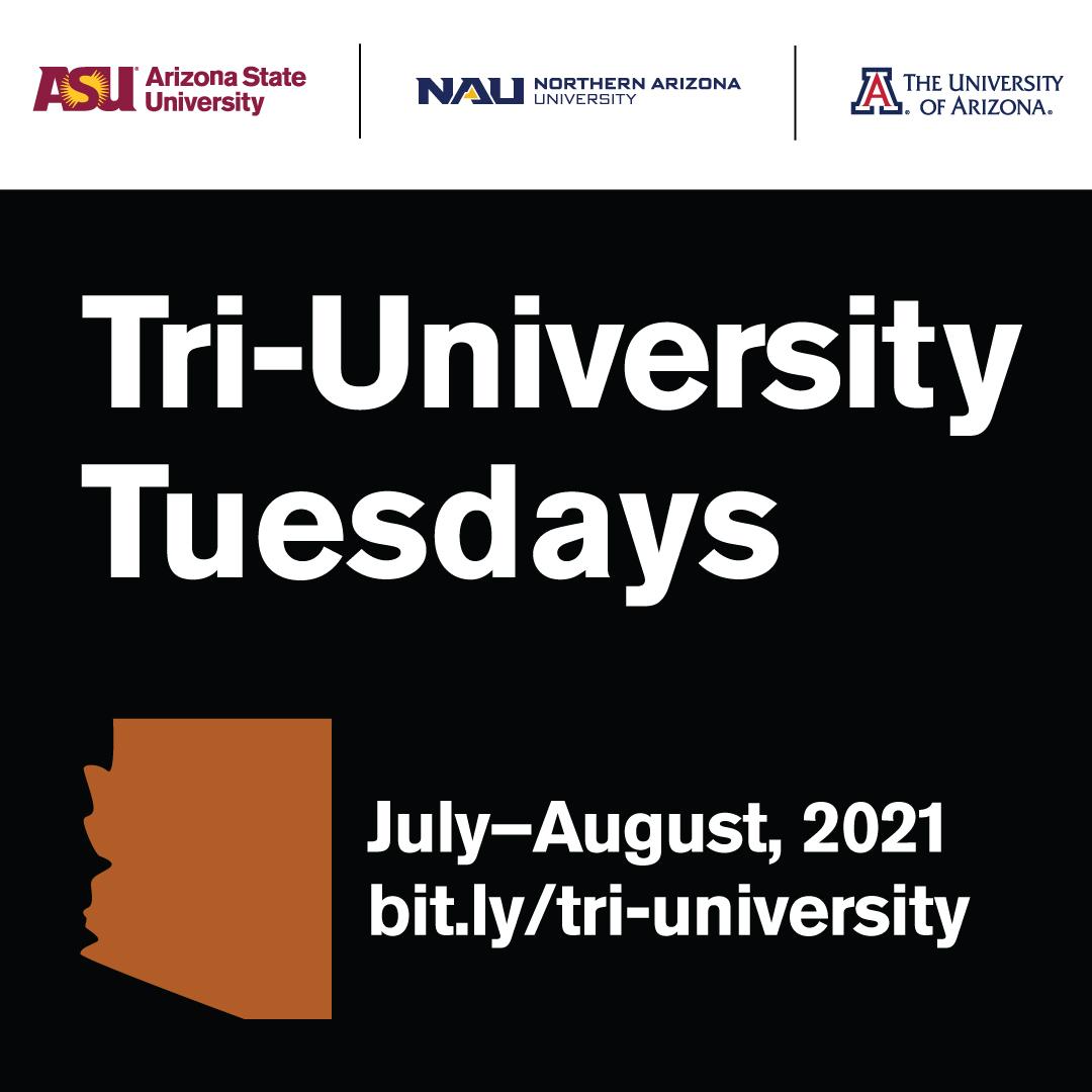 Tri-University Tuesdays Logo-orange AZ on field of black