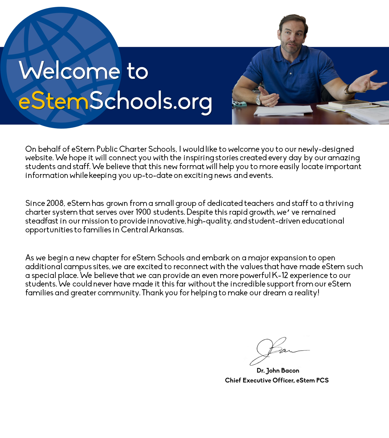 Message from CEO: Dr. John Bacon