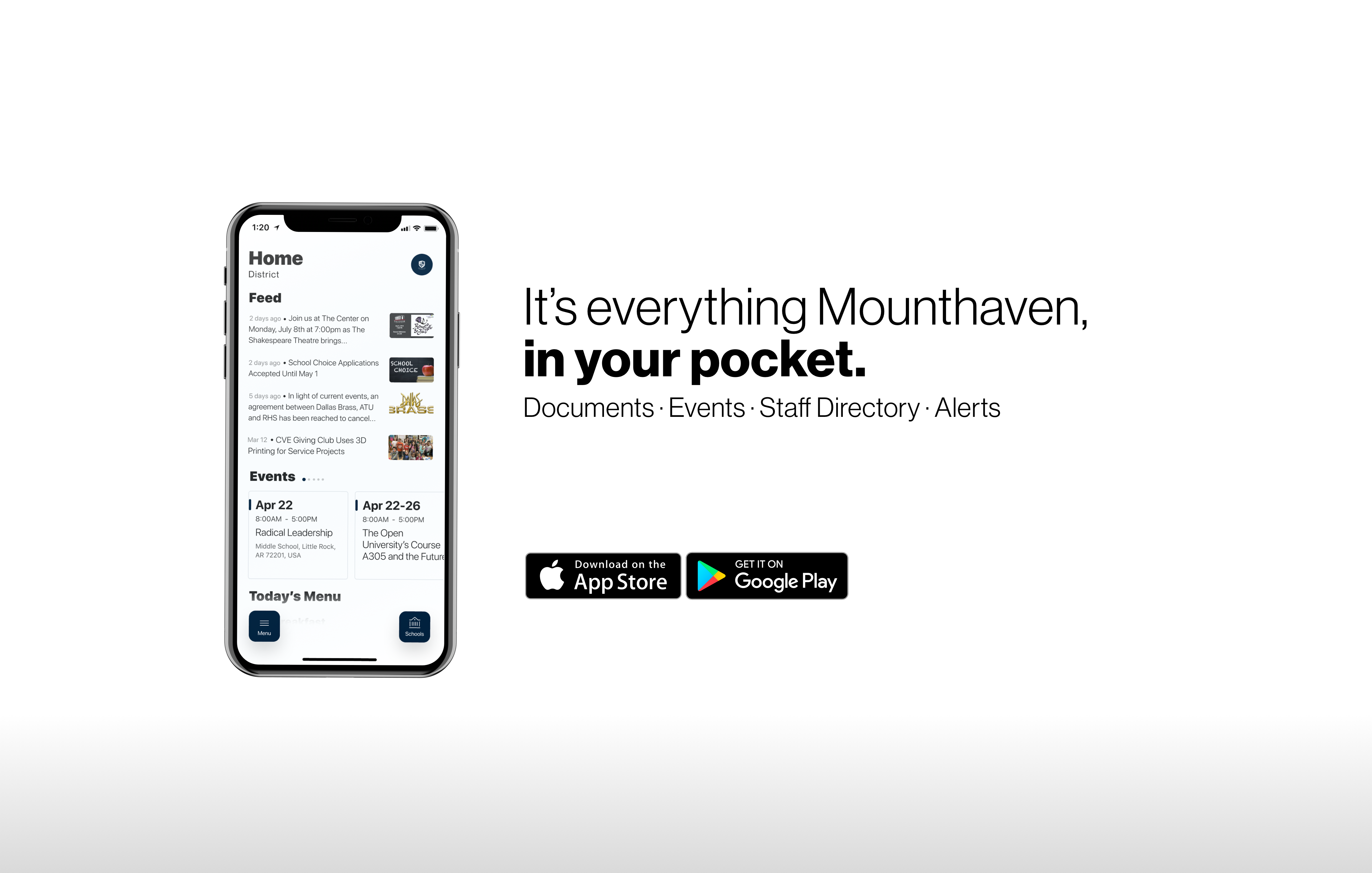 It's everything Mounthaven, in your pocket. Download the new school app!
